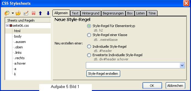 Stylesheet-Fenster für neue Regeln